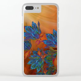 """Blue flowers on orange silk"" (Air Spring at night) Clear iPhone Case"