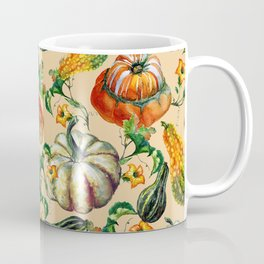Vintage orange yellow green watercolor pumpkin floral Coffee Mug