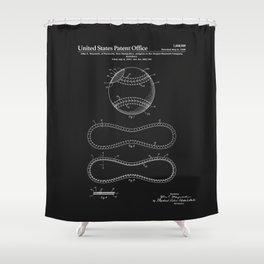Baseball Patent - Black Shower Curtain