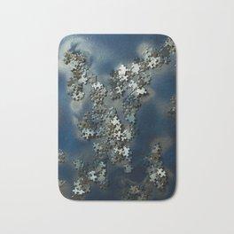Puzzles on blue Bath Mat