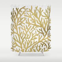 coral Shower Curtains featuring Gold Coral by Cat Coquillette
