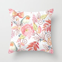 Little Robin Floral & Leaf Throw Pillow