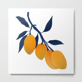 Gouache Mangoes Metal Print