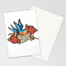I Do What I Want Vintage Bluebird And Rose Tattoo Stationery Cards