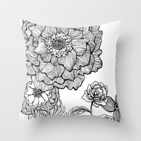 alisa burke Throw Pillows featuring flower line drawing by Alisa Burke