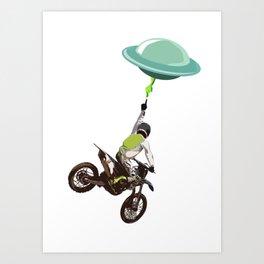 Motocross alien Art Print