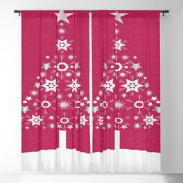 Christmas Tree Of Snowflakes and Stars On Rose Red Background Blackout Curtain