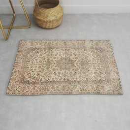 Isfahan Central Persia Old Century Authentic Colorful Dusty Blue Tan Distressed Vintage Patterns Rug