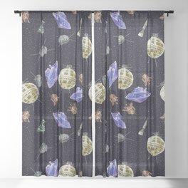 Gagarin space art #10 seamless texture Sheer Curtain
