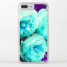 Light blue Rose Kathryn Clear iPhone Case
