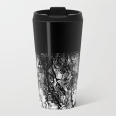 Black and White Tree Branch Silhouette Reflections Metal Travel Mug