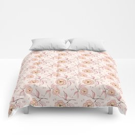 Pink Peony Kiss Floral Pattern Comforters