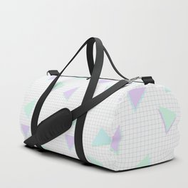 Cool-Color Pastel Triangles on Grid Duffle Bag