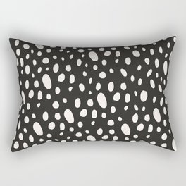 Bohemian Pebbles - Dark gray and cream dot pattern Rectangular Pillow