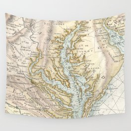 Vintage Map of The Chesapeake Bay(1778) 2 Wall Tapestry