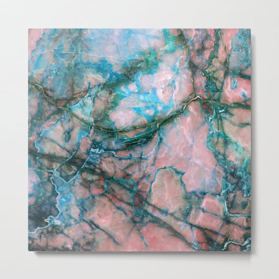 Pink and Blue Marble Metal Print