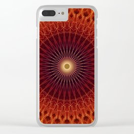 Mandala in orange and brown colors Clear iPhone Case
