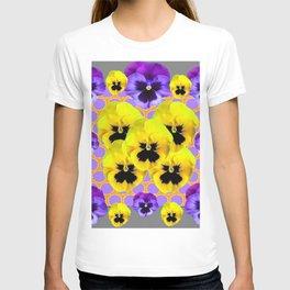 YELLOW & PURPLE SPRING PANSIES ART T-shirt