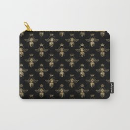 Black & Gold Queen Bee Pattern Carry-All Pouch