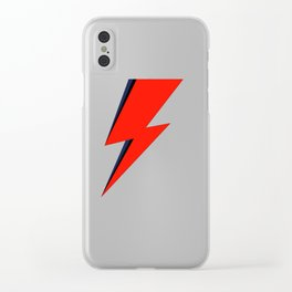 Red Bowie David Lightning Bolt Clear iPhone Case