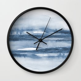 Indigo Clouds, Blue Abstract Art Wall Clock