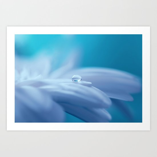 Lonely droplet on a daisy in blue  on #Society6 Art Print