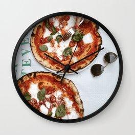 Italy Photography - Delicious Italian Pizza Wall Clock