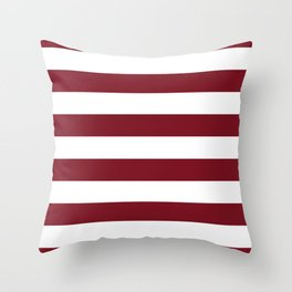 Deep Red Pear and White Wide Horizontal Cabana Tent Stripe Throw Pillow