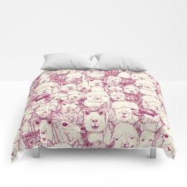 just alpacas cherry pearl Comforters