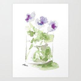 Watercolor Violets in a Mason Jar Art Print