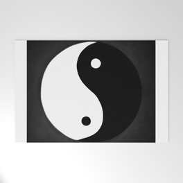 Yin and Yang BW Welcome Mat