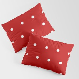 Red and White Polka Dots Pattern Pillow Sham