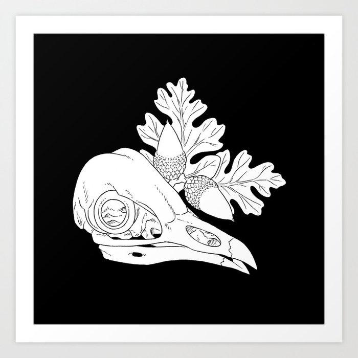 Barn Owl Skull with Valley Oak (white) Art Print by ...