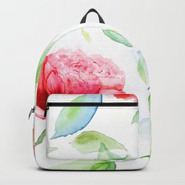 Watercolor flowers and leaves Backpack