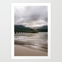 Hanalei Pier Bay Kauai Hawaii Printable Wall Art | Tropical Island Landscape Travel Photography Print Art Print