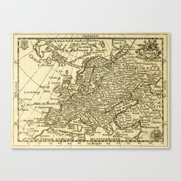Vintage map of Europe Canvas Print