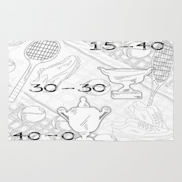 Illustration of Tennis Sport Scene Rug