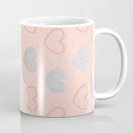 Elegant hand painted romantic coral pink silver foil hearts Coffee Mug