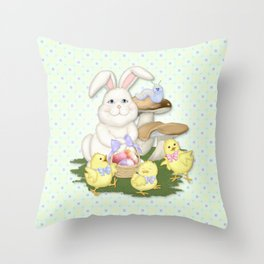 White Rabbit and Easter Friends Throw Pillow