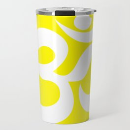 White AUM / OM Reiki symbol on yellow background Travel Mug