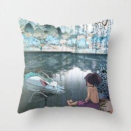 Haku and Chihiro woodblock mashup Throw Pillow