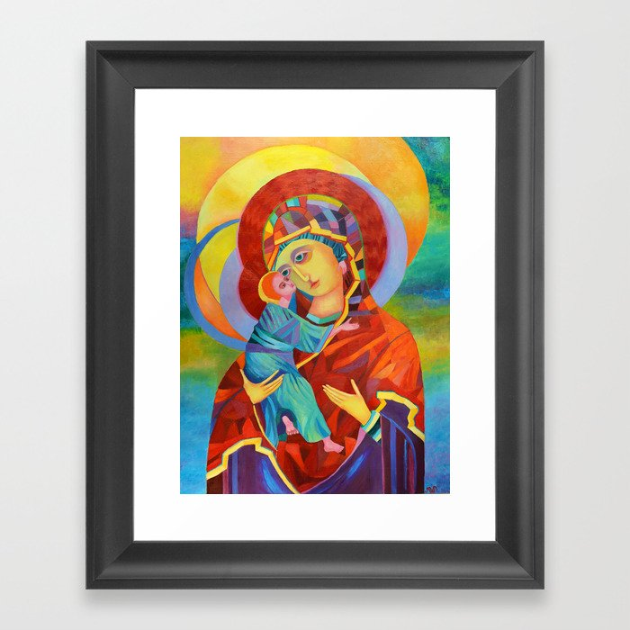 Virgin Mary Painting Madonna And Child Jesus Icon Modern Catholic Religious Framed Art Print By Shopartpoland