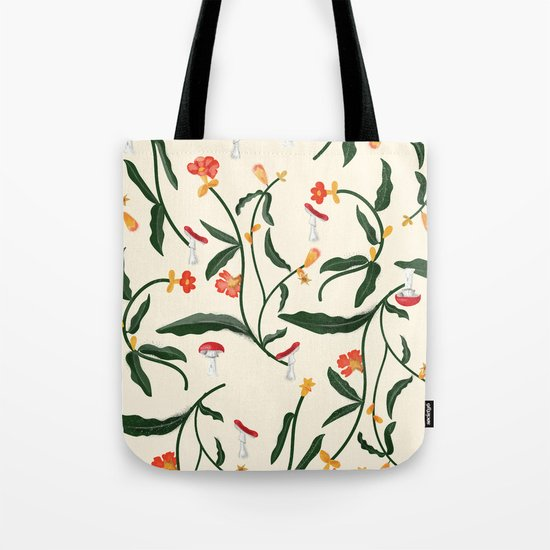 Mushrooms and Flowers Hanging Out Tote Bag