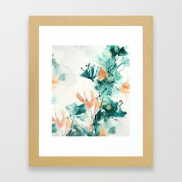Teal and Coral Watercolor Lilies Framed Art Print