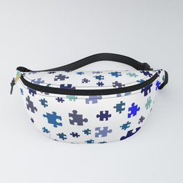 Jigsaw pieces of bluish colors. Fanny Pack