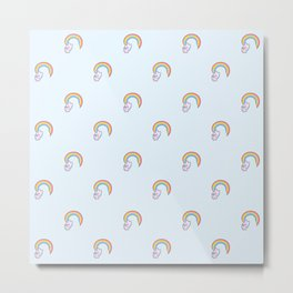 Kawaii proud rainbow cattycorn pattern Metal Print