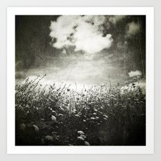 Counting Flowers Like Stars - Black and White Art Print