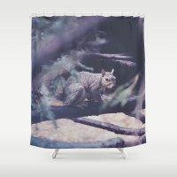 squirrel Shower Curtains featuring Squirrel by Neon Wildlife