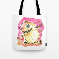 guinea pig Tote Bags featuring Guinea Pig Monster by Scalmato Studio