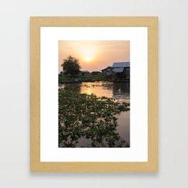 Sunset over Ganvie, Benin Framed Art Print